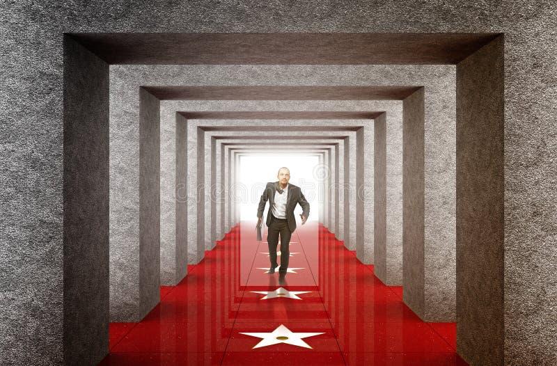 Download Businessman Run Into Success Way Stock Image - Image: 13374507