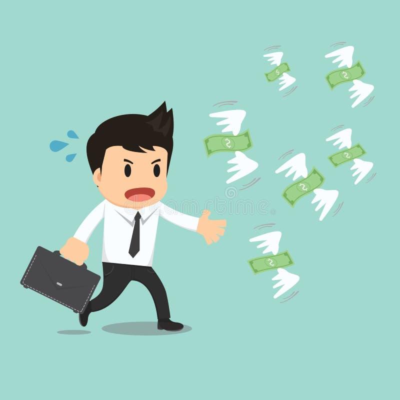 Businessman run to catch fly money vector illustration.  vector illustration