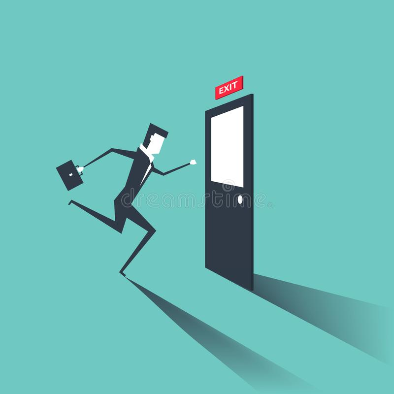 Businessman run to exit door. Businessman is running from work. Evacuation sing. royalty free illustration