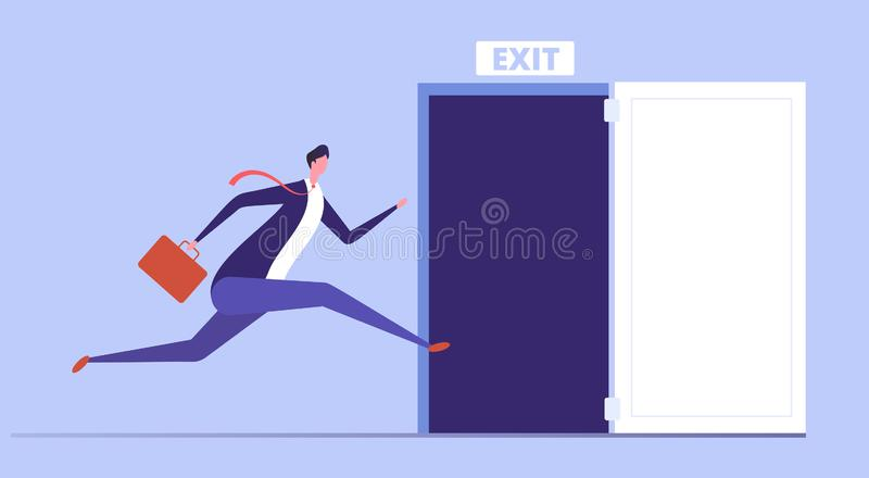 Businessman run to open exit door. Emergency escape and evacuation from office vector business concept. Illustration of businessman run to door exit, escape stock illustration