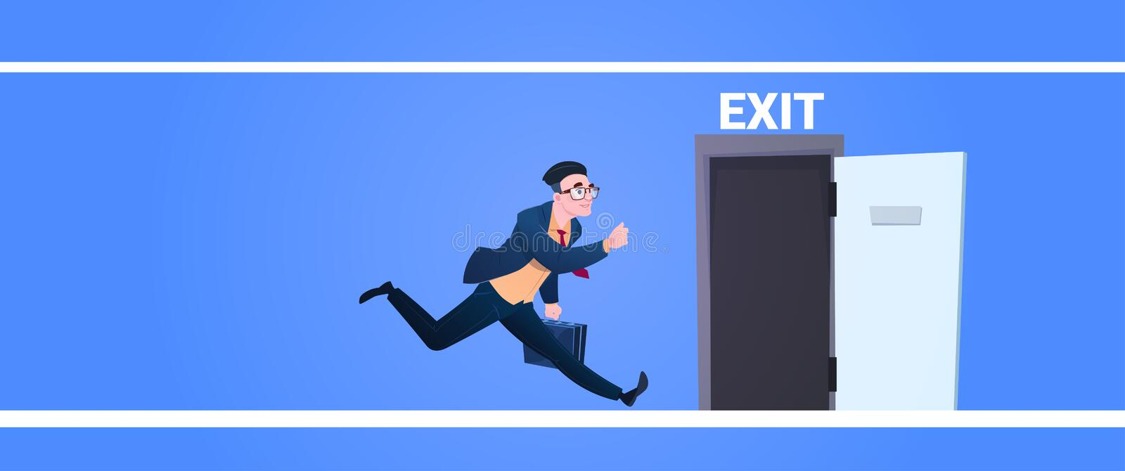 Businessman run to open exit door man running from work evacuation sing emergency on blue background flat banner stock illustration