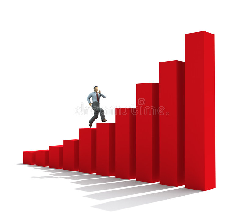 Download Businessman Run Up On Graph Stock Illustration - Illustration of business, grade: 8478376