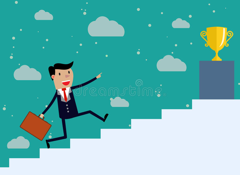Businessman run Up Stairs royalty free illustration