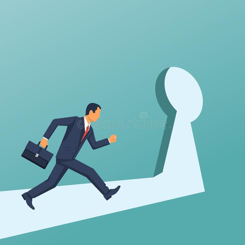 Businessman runing into the keyhole vector illustration