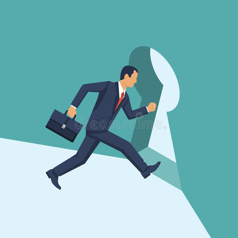 Businessman runing into the keyhole. royalty free illustration
