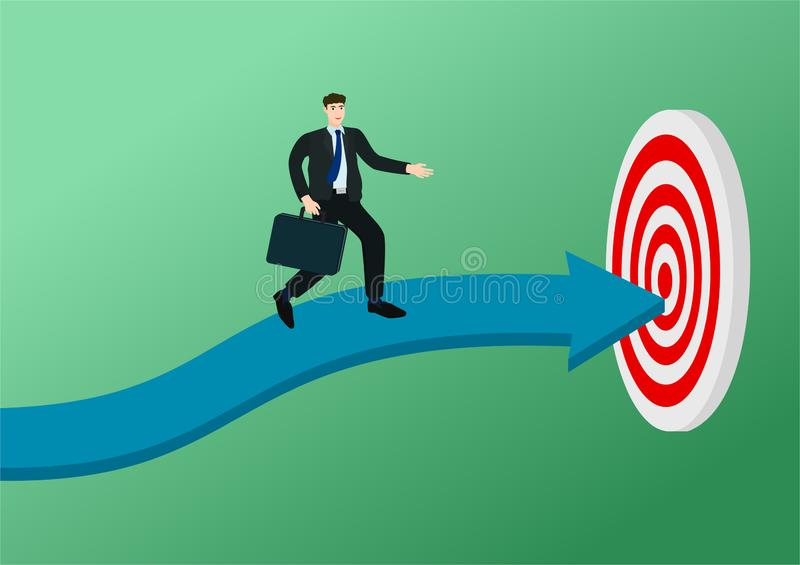 Businessman running on arrow to target concept royalty free illustration