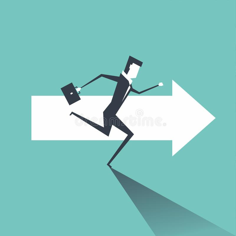 Businessman running on the arrows towards the goal of professional success. royalty free illustration