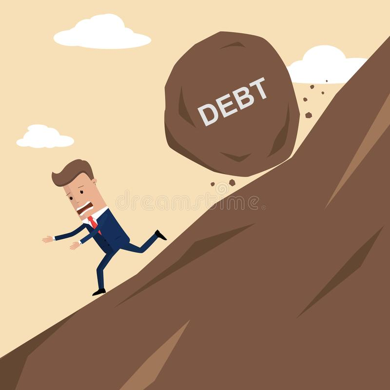 Businessman running away from big stone with message debt that is rolling down to him. Vector illustration.  royalty free illustration