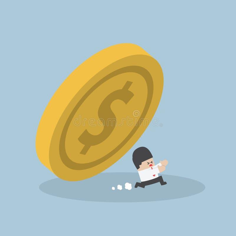 Businessman running away from falling dollar coin vector illustration