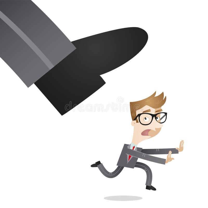 Businessman running away from huge foot stock illustration