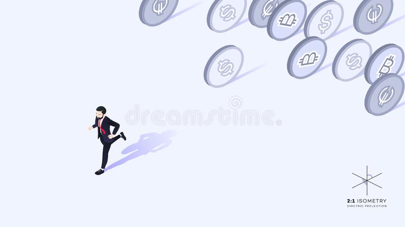 Businessman running away from money. Wrong promotion development strategy. Conceptual isometric vector illustration royalty free illustration