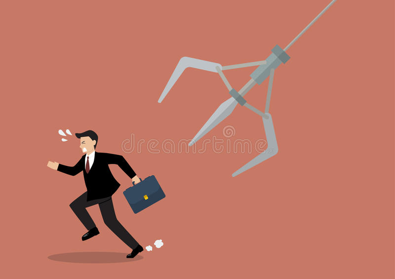Businessman running away from robotic claw vector illustration