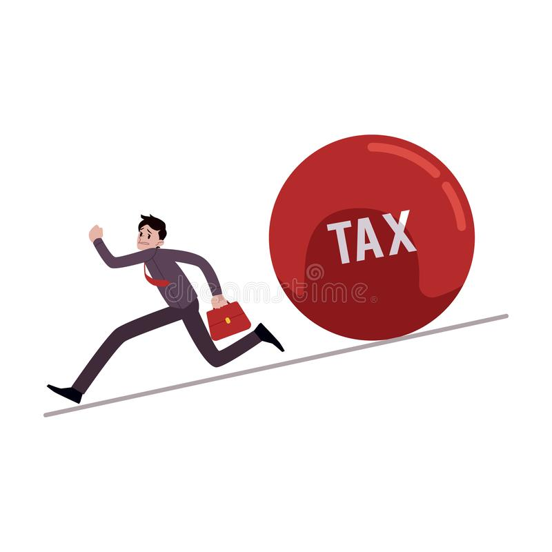 Businessman running away from tax ball rolling down to him cartoon style. Vector illustration isolated on white background. Male evades paying taxes, business vector illustration