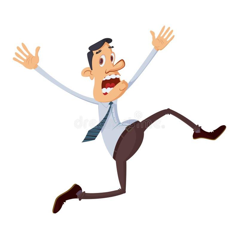 Businessman running away royalty free illustration