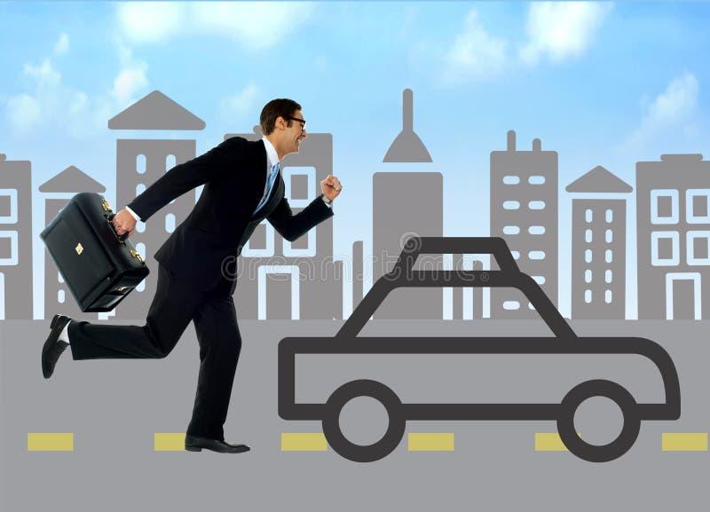 Businessman running behind silhouette car. Running businessman against the silhouette city and car stock illustration