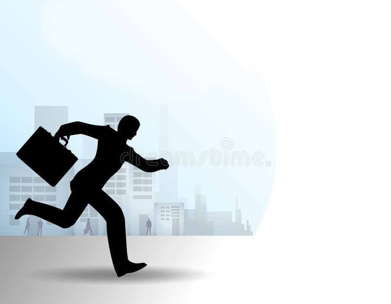 Businessman Running With Briefcase Stock Photos