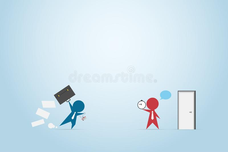 Businessman running with briefcase to office and boss holding clock in front of the door, time and business concept stock illustration