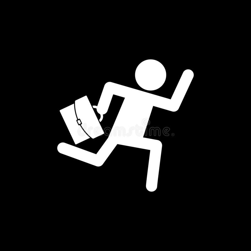 A businessman running and carrying a bag for web icons and symbols on a black background. And flatn royalty free illustration