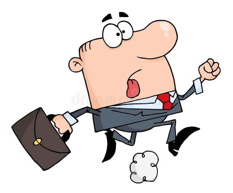Businessman running carrying a briefcase to work. Late caucasian businessman running with a briefcase vector illustration