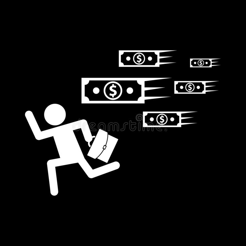 A businessman running and carrying a purse with money running along for the web icons and concepts and symbols on a black backgrou. Nd and flat vector illustration
