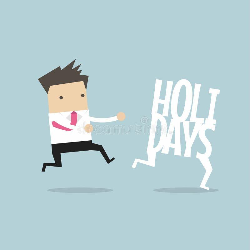 Businessman running catch up holidays. stock illustration