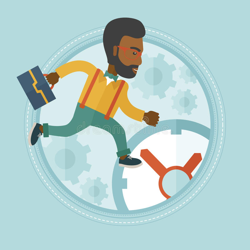 Businessman running on clock background. An african-american stressed businessman running in a hurry on a clock background. Time management and stress at work stock illustration