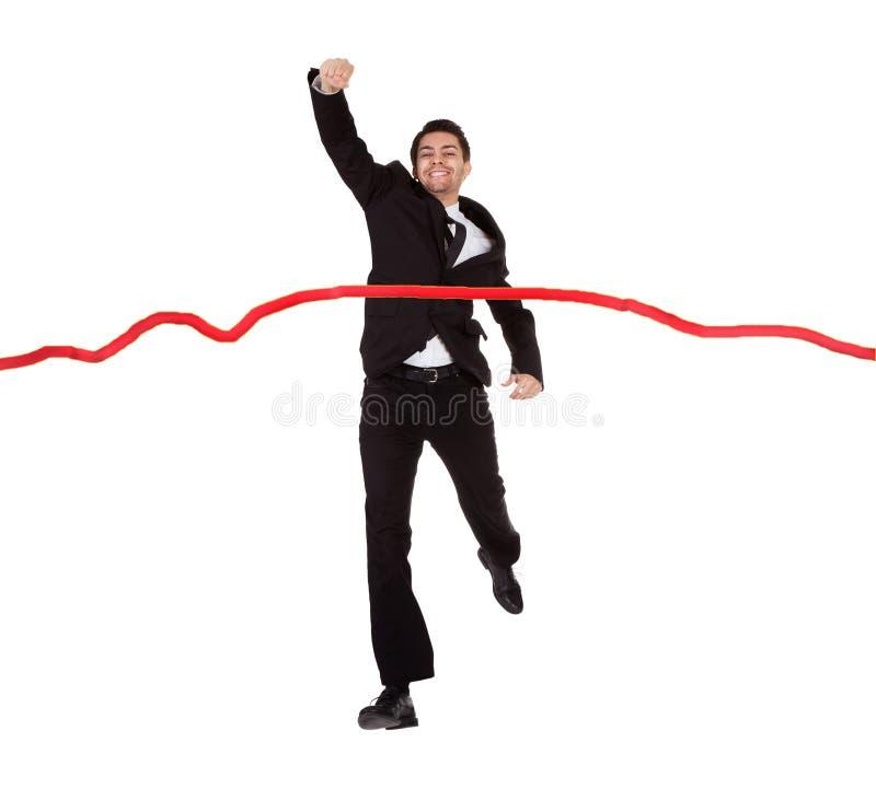 Download Businessman Running Through Finishing Line Stock Image - Image: 28707163