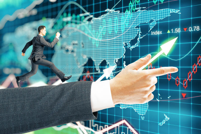 Businessman running forex background stock photography
