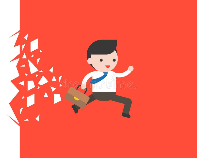 Businessman running through a glass, business situation. Vector illustration royalty free illustration