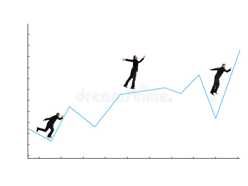 Download Businessman Running On Graph Stock Illustration - Image: 23535557