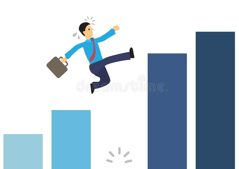 Businessman running on the graph and jumping over a giant gap royalty free illustration