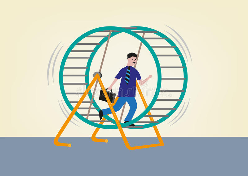 Businessman Running on a Hamster Wheel. Editable Clip Art. Conceptual Image of Businessman Running Nonstop on a Hamster Wheel royalty free illustration