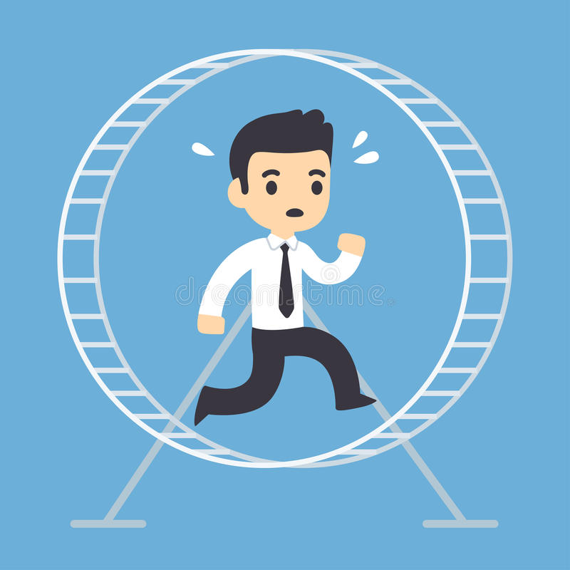 Businessman running in hamster wheel. Stressed businessman running in hamster wheel. Rat race concept vector illustration vector illustration