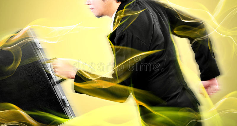 Businessman running high speed for his target before competitor. Background royalty free stock images