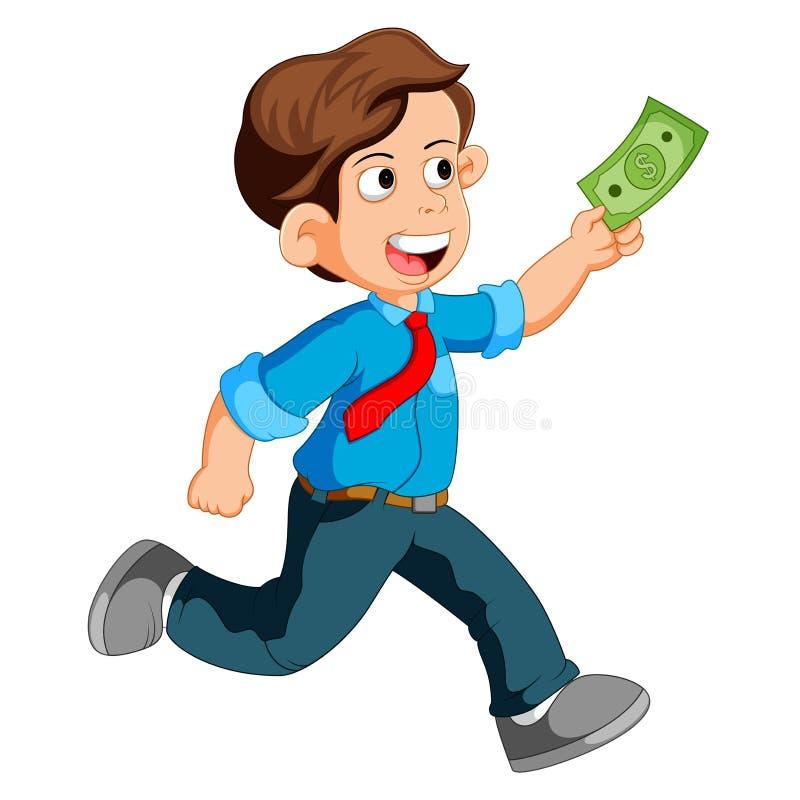 Businessman running and holding money. Illustration of Businessman running and holding money stock illustration