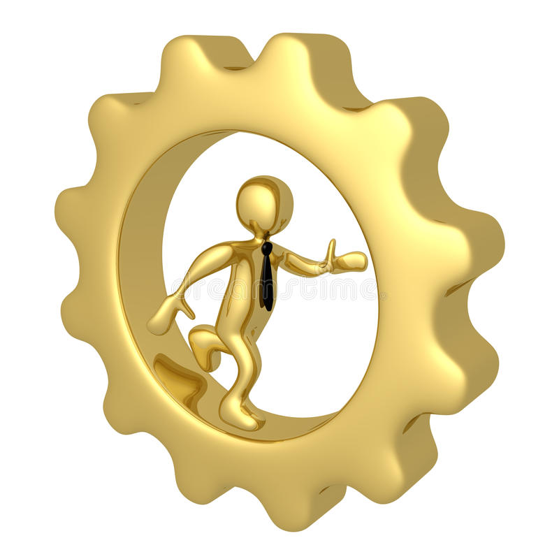 Businessman Running Inside A Cog. Computer Generated Image - Businessman Running Inside A Cog vector illustration