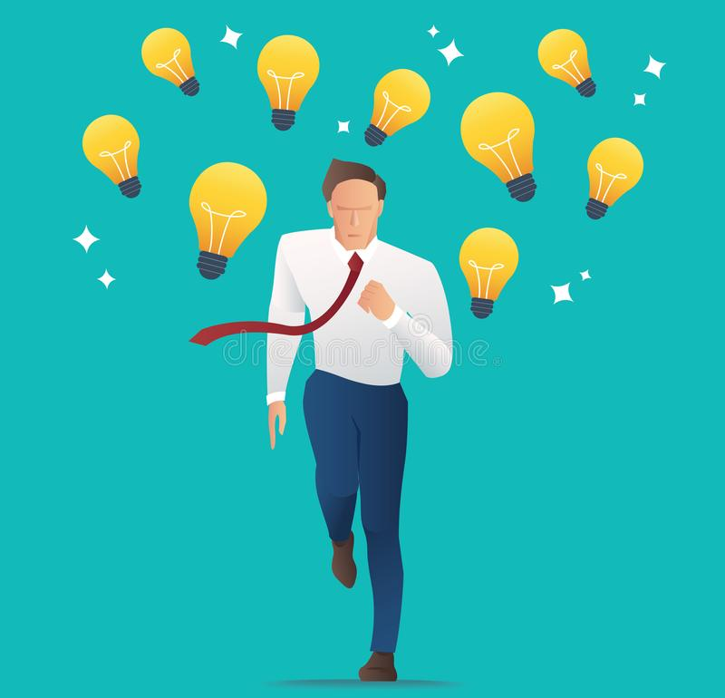 Businessman running with light bulbs, Concept of creativity, competition and innovation. vector illustration