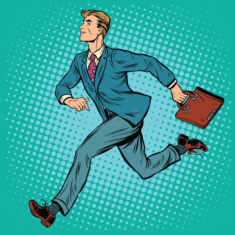 Businessman running man. Pop art retro style. Business and sport vector illustration