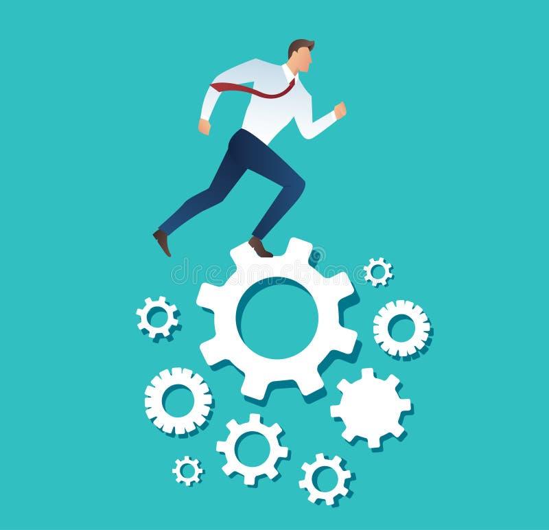Businessman running over machine gear wheel cog wheel showing work life action strategy vector illustration