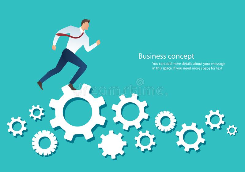Businessman running over machine gear wheel cog wheel showing work life action strategy.  royalty free illustration