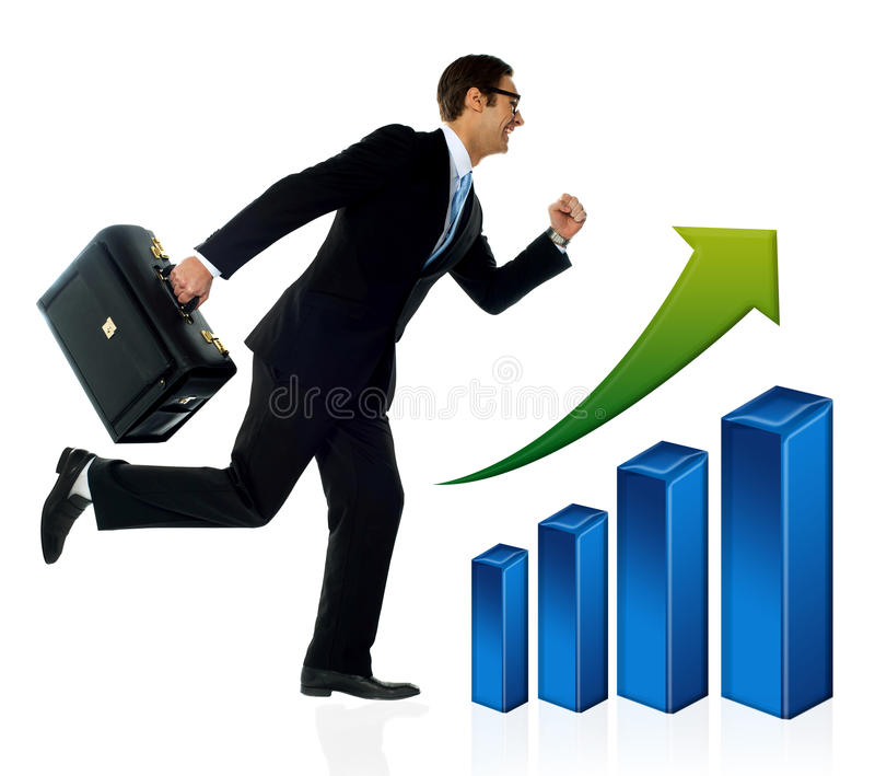 Businessman in running posture, growth concept. royalty free stock photos