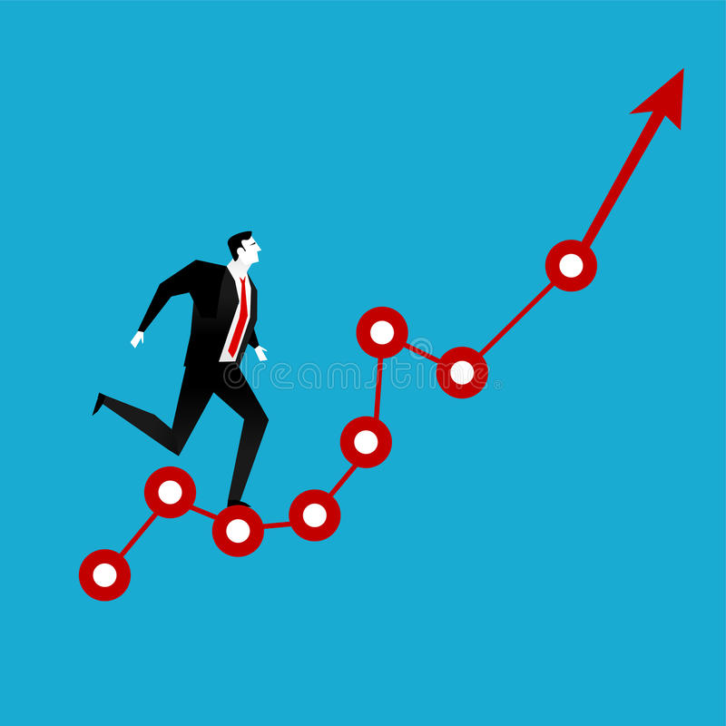 Businessman running on red arrow graph up. Business vision. Business growth concept stock illustration