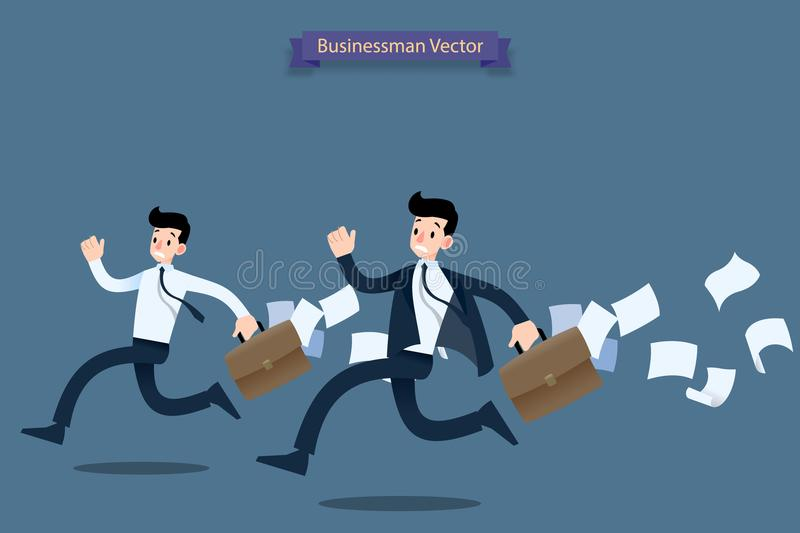 Businessman running rush in a hurry by work late with suitcase and falling papers behind and feel very busy. stock illustration