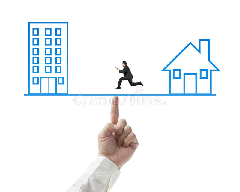 Download Businessman Running On Seesaw With Office And Home Stock Illustration - Image: 35991965