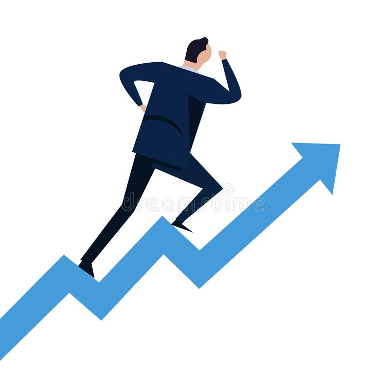 Businessman running on steps growth chart going up. Concept of career success climbing on stairs vector illustration