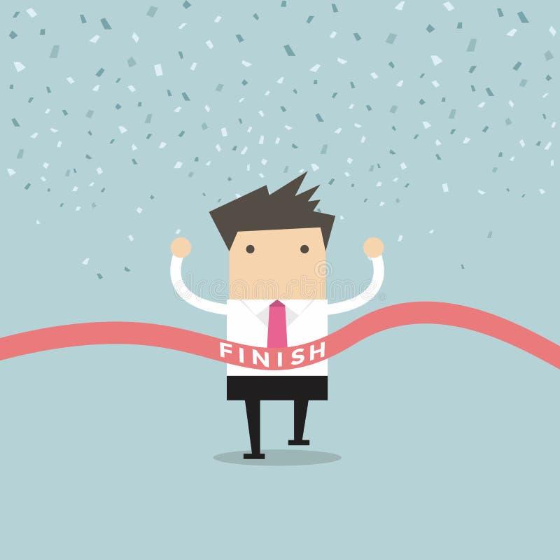 Businessman running success at the finish line vector illustration