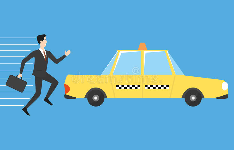 Businessman running for taxi royalty free illustration