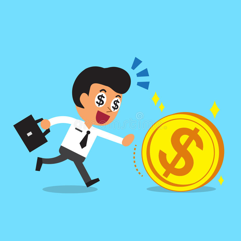 Businessman running to catch a big coin. For design royalty free illustration