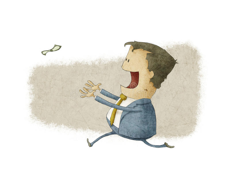Running to catch a dollar. A businessman running to catch a dollar royalty free illustration