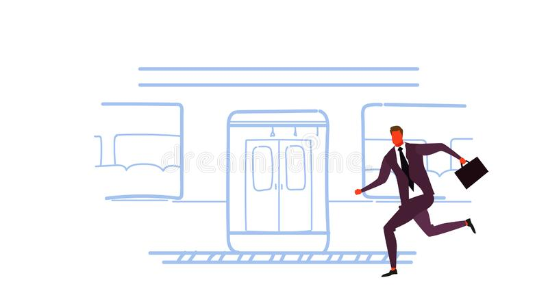 Businessman running to catch train subway city public transport underground tram sketch doodle male cartoon character. Full length horizontal vector royalty free illustration